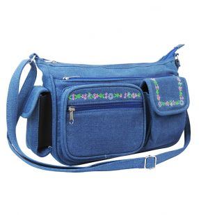 Embroidered Denim Handbag