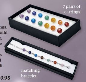 Chakra Stone Earring And Bracelet Set